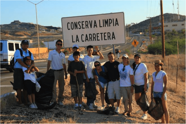 "Dolphin Discovery team ""Keeping the highway clean"" in Cabo"