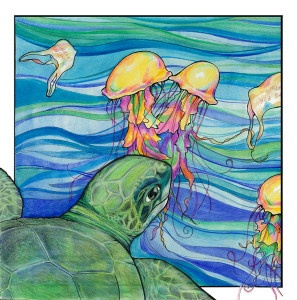 The drawing of a turtle illustrated by Noel Kassewitz.
